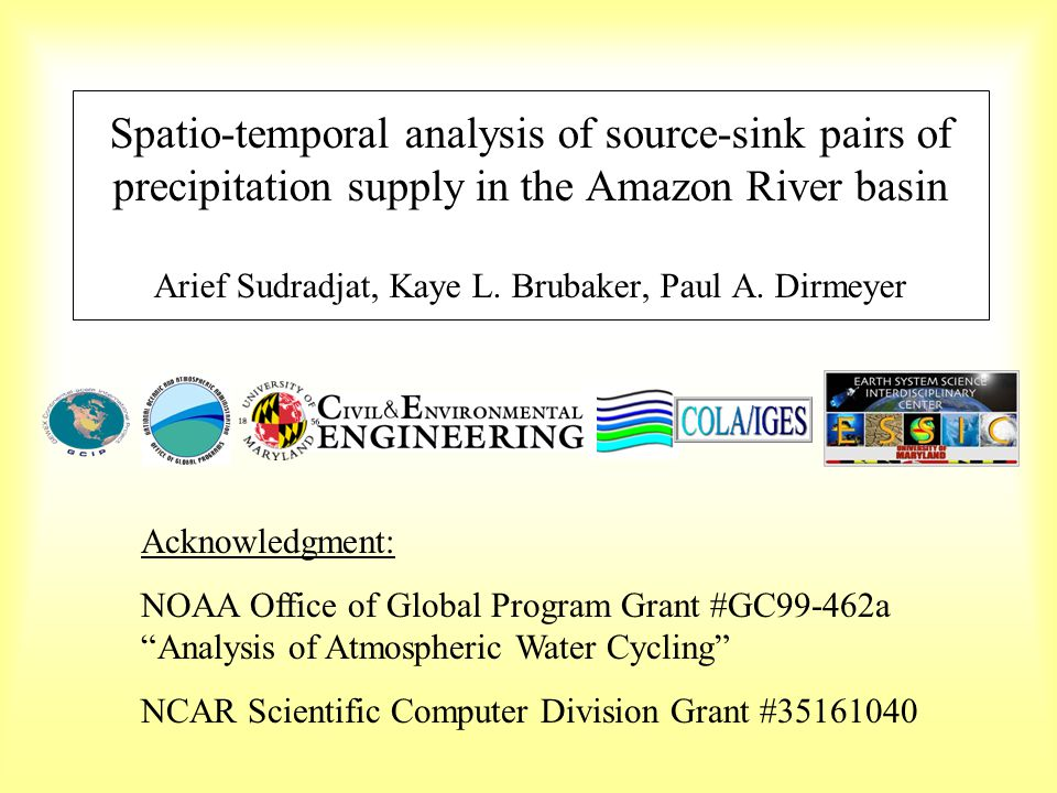 Spatio-temporal analysis of source-sink pairs of precipitation supply in the Amazon River basin Arief Sudradjat, Kaye L.