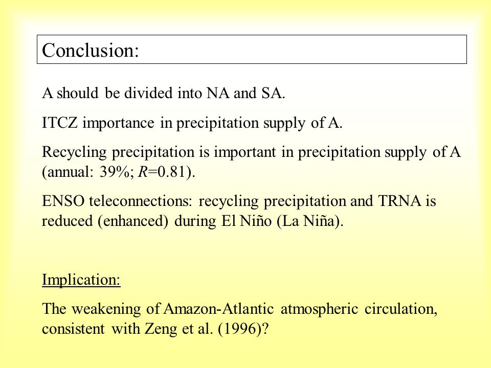 Conclusion: A should be divided into NA and SA. ITCZ importance in precipitation supply of A. Recycling precipitation is important in precipitation su