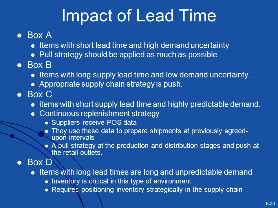 6-20 Impact of Lead Time Box A Items with short lead time and high demand uncertainty Pull strategy should be applied as much as possible.
