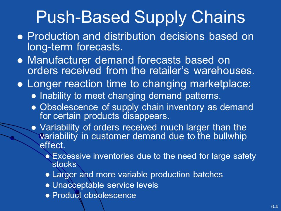 6-4 Push-Based Supply Chains Production and distribution decisions based on long-term forecasts.