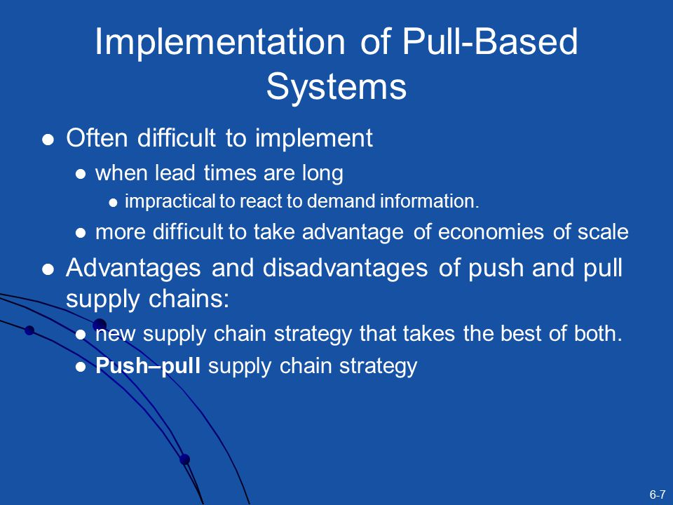 6-7 Implementation of Pull-Based Systems Often difficult to implement when lead times are long impractical to react to demand information.