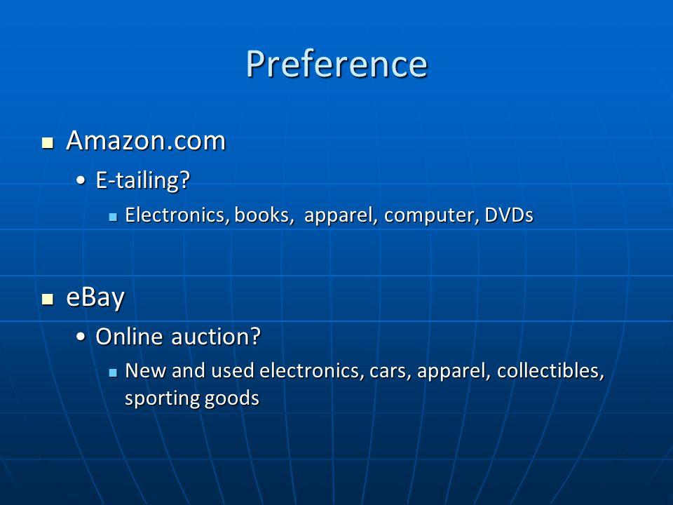 Preference Amazon.com Amazon.com E-tailing E-tailing.