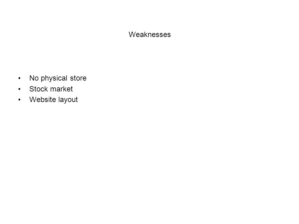 Weaknesses No physical store Stock market Website layout