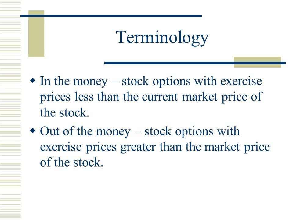 Terminology  In the money – stock options with exercise prices less than the current market price of the stock.