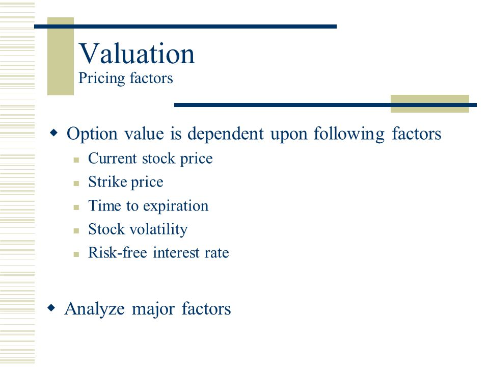 Valuation Pricing factors  Option value is dependent upon following factors Current stock price Strike price Time to expiration Stock volatility Risk-free interest rate  Analyze major factors
