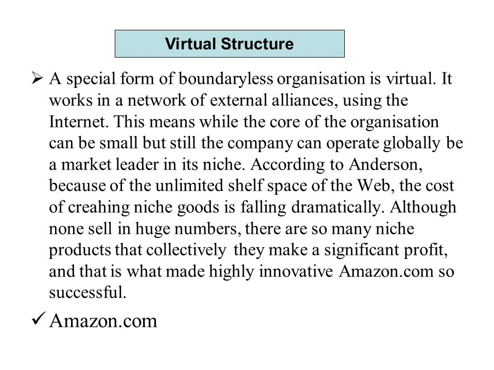  A special form of boundaryless organisation is virtual.