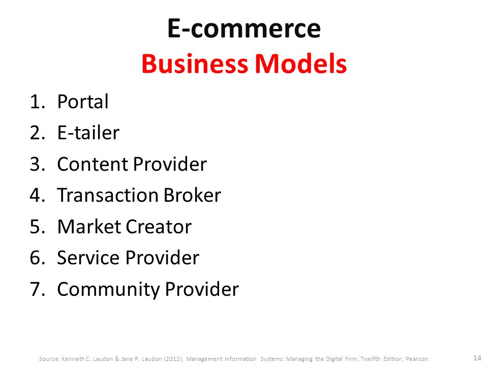 E-commerce Business Models 1.Portal 2.E-tailer 3.Content Provider 4.Transaction Broker 5.Market Creator 6.Service Provider 7.Community Provider 14 Source: Kenneth C.