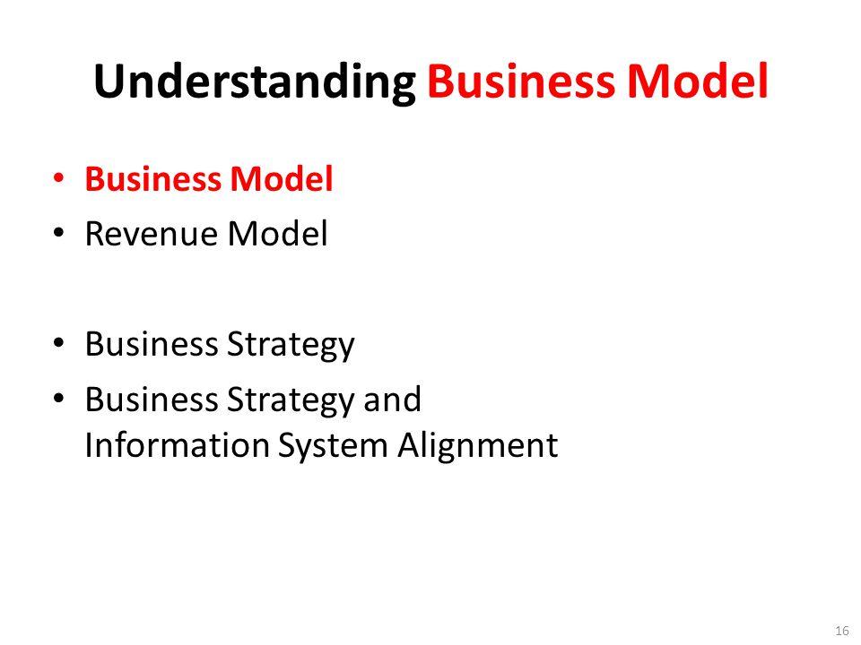 Understanding Business Model Business Model Revenue Model Business Strategy Business Strategy and Information System Alignment 16