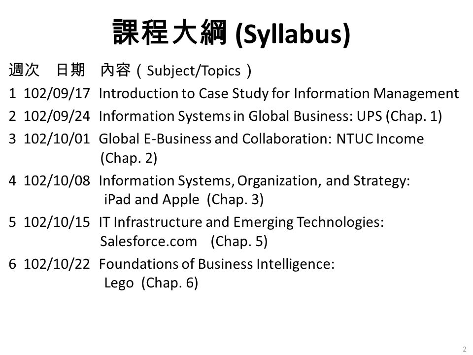 週次 日期 內容( Subject/Topics ) 1 102/09/17 Introduction to Case Study for Information Management 2 102/09/24 Information Systems in Global Business: UPS (