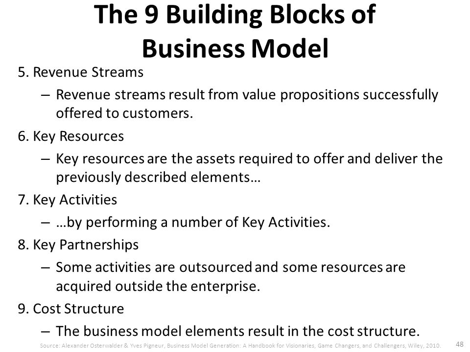 5. Revenue Streams – Revenue streams result from value propositions successfully offered to customers. 6. Key Resources – Key resources are the assets