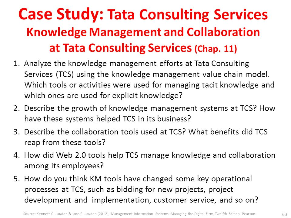 Case Study: Tata Consulting Services Knowledge Management and Collaboration at Tata Consulting Services (Chap. 11) 1. Analyze the knowledge management