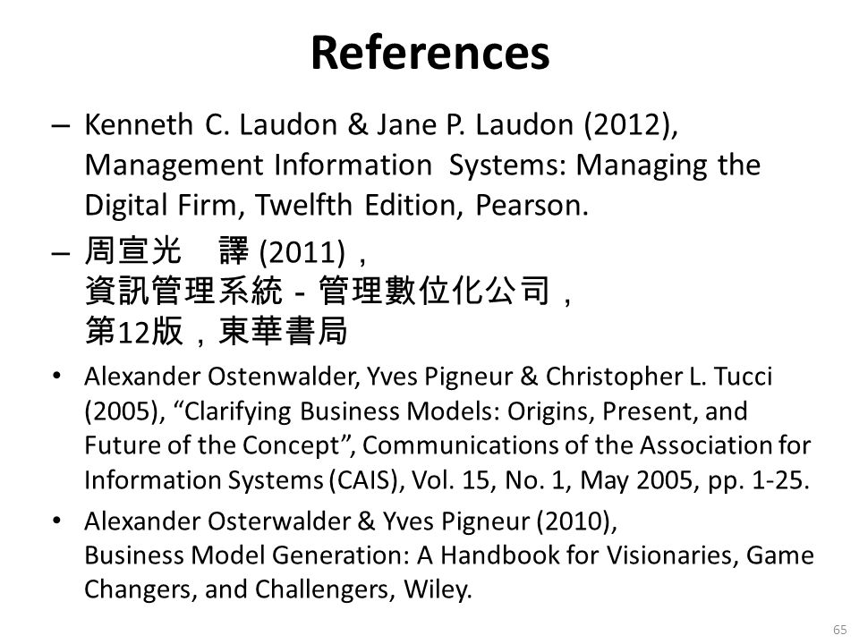 References – Kenneth C. Laudon & Jane P.