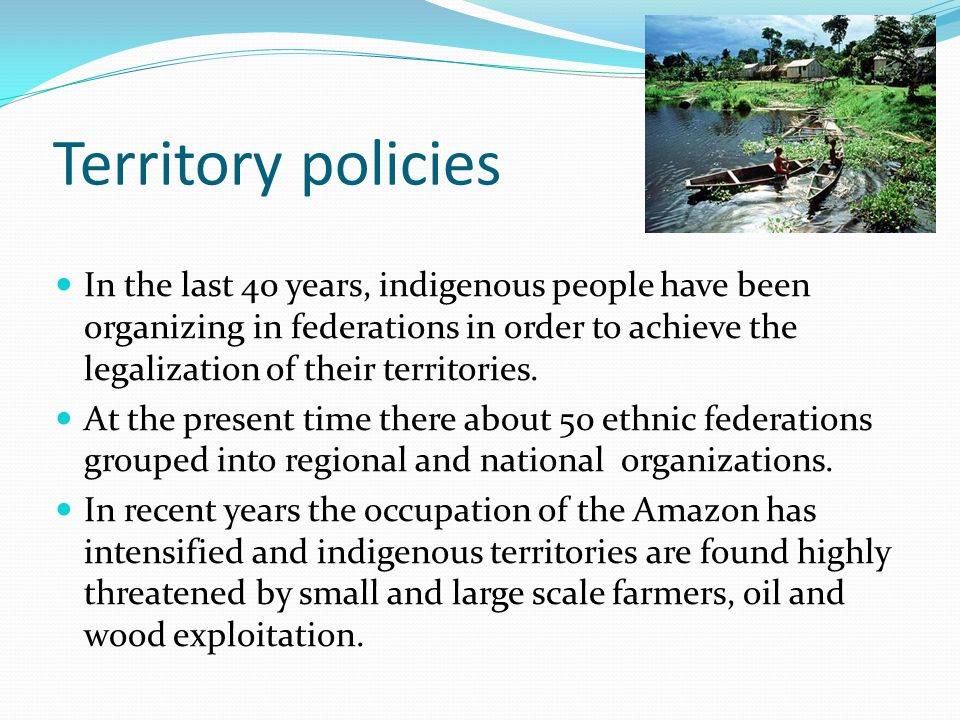 The norms and procedures for the demarcation, titling and registration of Native Communities are stablished in the Law on Native Communities and Agrarian Development (22175).