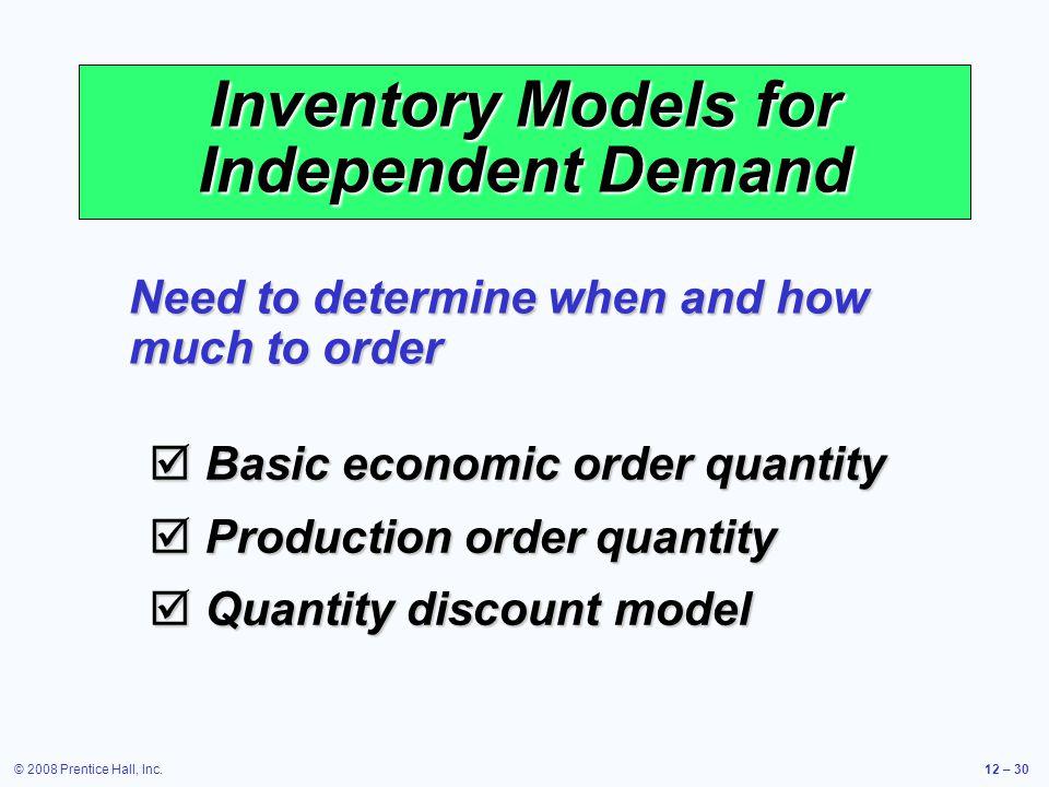 © 2008 Prentice Hall, Inc.12 – 30 Inventory Models for Independent Demand  Basic economic order quantity  Production order quantity  Quantity disco
