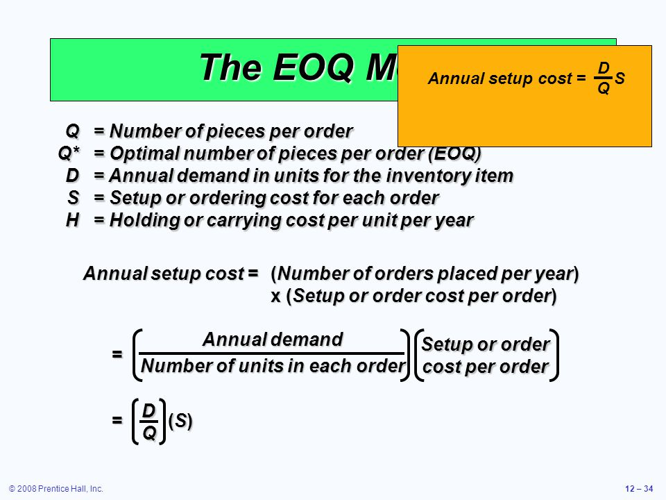 © 2008 Prentice Hall, Inc.12 – 34 The EOQ Model Q= Number of pieces per order Q*= Optimal number of pieces per order (EOQ) D= Annual demand in units f