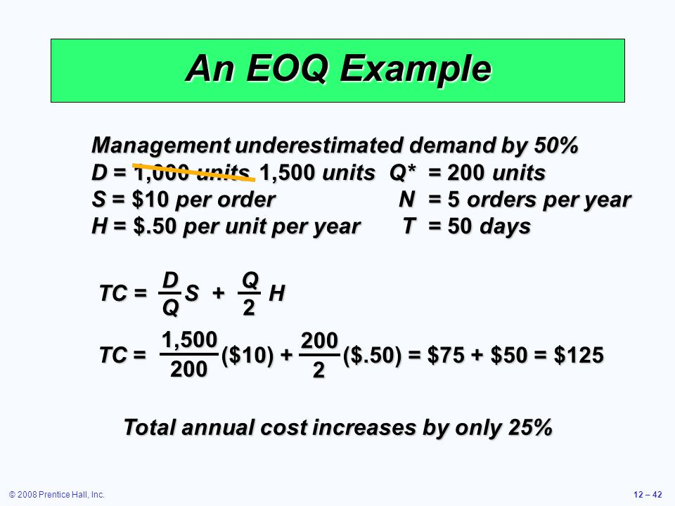 © 2008 Prentice Hall, Inc.12 – 42 An EOQ Example Management underestimated demand by 50% D = 1,000 units Q*= 200 units S = $10 per orderN= 5 orders pe