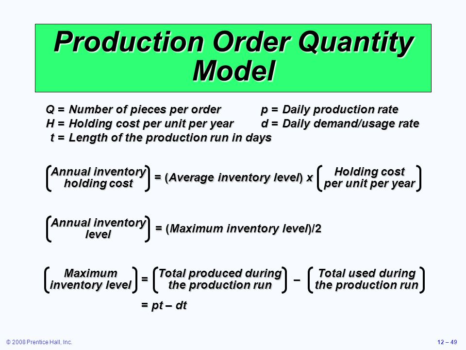 © 2008 Prentice Hall, Inc.12 – 49 Production Order Quantity Model Q =Number of pieces per order p =Daily production rate H =Holding cost per unit per