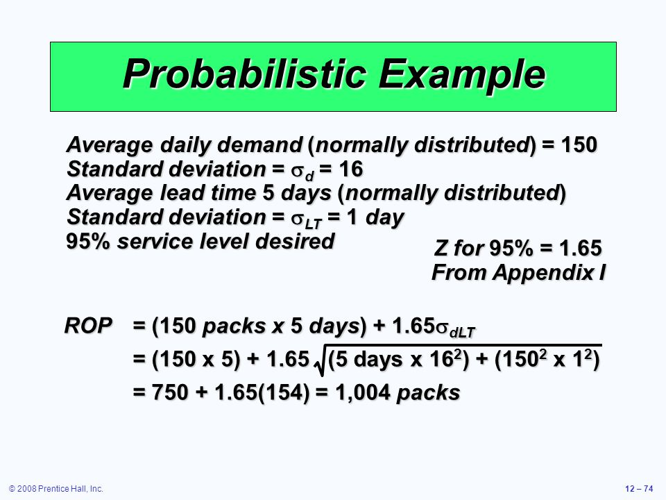 © 2008 Prentice Hall, Inc.12 – 74 Probabilistic Example Average daily demand (normally distributed) = 150 Standard deviation =  d = 16 Average lead t