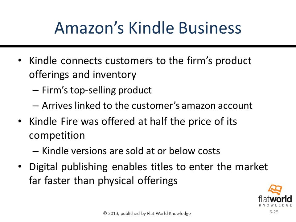 © 2013, published by Flat World Knowledge Amazon's Kindle Business Kindle connects customers to the firm's product offerings and inventory – Firm's top-selling product – Arrives linked to the customer's amazon account Kindle Fire was offered at half the price of its competition – Kindle versions are sold at or below costs Digital publishing enables titles to enter the market far faster than physical offerings 6-25