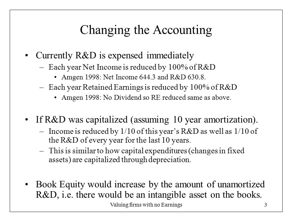Valuing firms with no Earnings4 Capitalizing R&D If you Capitalize R&D, –Income increase in the early years and decreases in the later years –Investing activities increase (still spend the $) –FCF is unchanged –Book Equity increases.