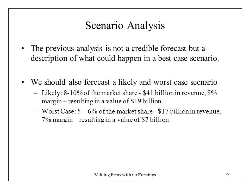 Valuing firms with no Earnings9 Scenario Analysis The previous analysis is not a credible forecast but a description of what could happen in a best case scenario.