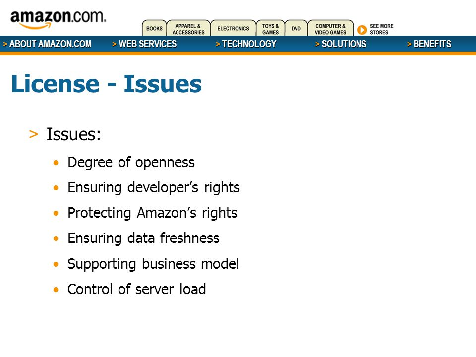 > ABOUT AMAZON.COM > WEB SERVICES > WEB SERVICES > TECHNOLOGY > SOLUTIONS > BENEFITS License - Issues > Issues: Degree of openness Ensuring developer'