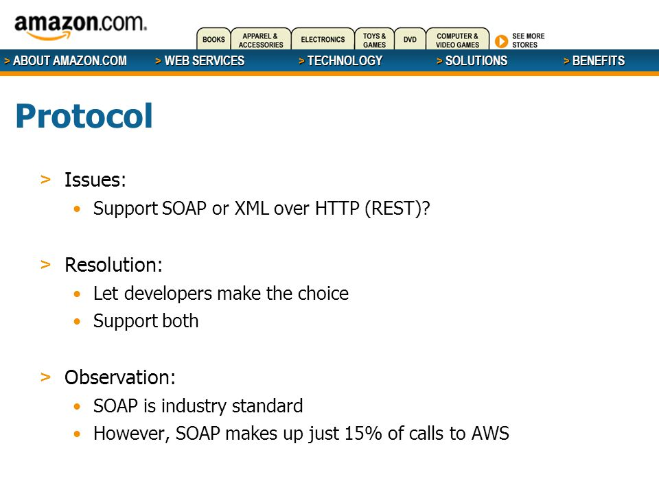 > ABOUT AMAZON.COM > WEB SERVICES > WEB SERVICES > TECHNOLOGY > SOLUTIONS > BENEFITS Protocol > Issues: Support SOAP or XML over HTTP (REST).