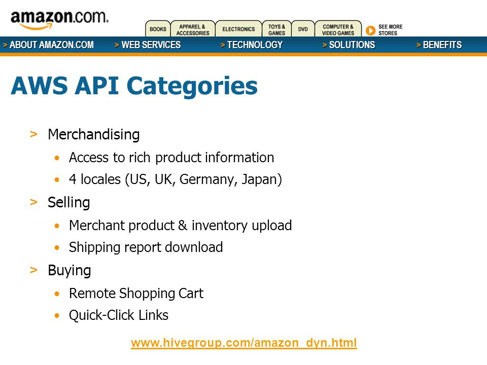 > ABOUT AMAZON.COM > WEB SERVICES > WEB SERVICES > TECHNOLOGY > SOLUTIONS > BENEFITS AWS API Categories > Merchandising Access to rich product information 4 locales (US, UK, Germany, Japan) > Selling Merchant product & inventory upload Shipping report download > Buying Remote Shopping Cart Quick-Click Links www.hivegroup.com/amazon_dyn.html