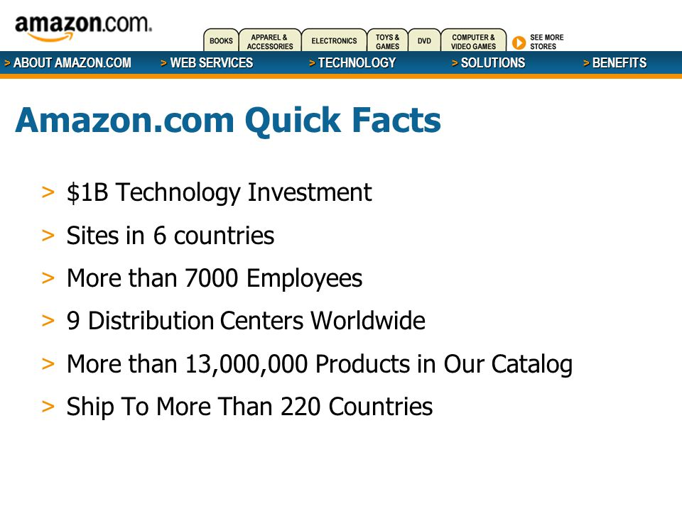 > ABOUT AMAZON.COM > WEB SERVICES > WEB SERVICES > TECHNOLOGY > SOLUTIONS > BENEFITS Amazon.com Quick Facts > $1B Technology Investment > Sites in 6 c