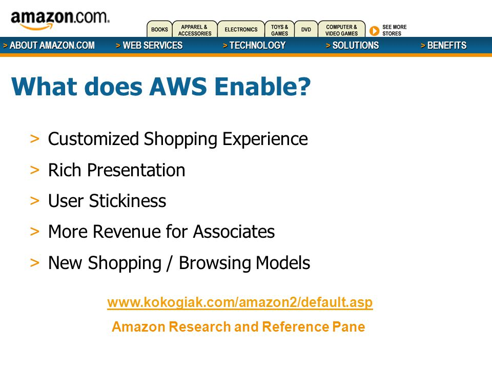 > ABOUT AMAZON.COM > WEB SERVICES > WEB SERVICES > TECHNOLOGY > SOLUTIONS > BENEFITS What does AWS Enable? > Customized Shopping Experience > Rich Pre