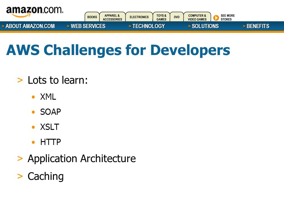 > ABOUT AMAZON.COM > WEB SERVICES > WEB SERVICES > TECHNOLOGY > SOLUTIONS > BENEFITS AWS Challenges for Developers > Lots to learn: XML SOAP XSLT HTTP