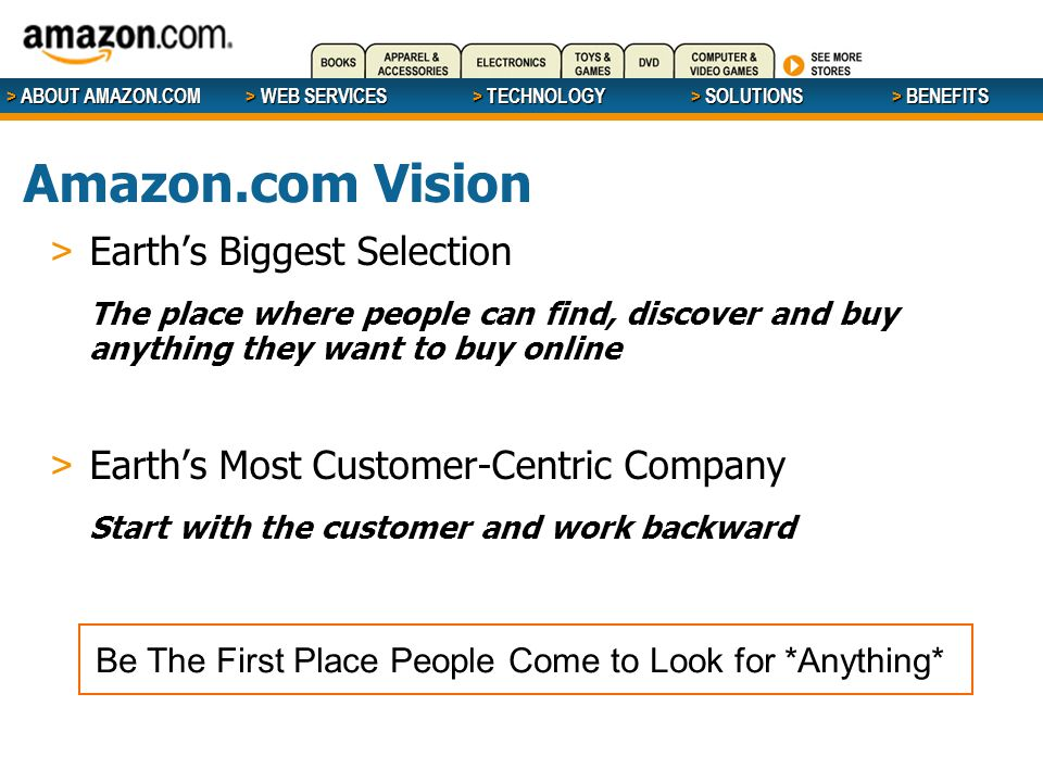 > ABOUT AMAZON.COM > WEB SERVICES > WEB SERVICES > TECHNOLOGY > SOLUTIONS > BENEFITS > Earth's Biggest Selection The place where people can find, discover and buy anything they want to buy online > Earth's Most Customer-Centric Company Start with the customer and work backward Be The First Place People Come to Look for *Anything* Amazon.com Vision