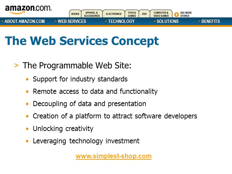 > ABOUT AMAZON.COM > WEB SERVICES > WEB SERVICES > TECHNOLOGY > SOLUTIONS > BENEFITS The Web Services Concept > The Programmable Web Site: Support for