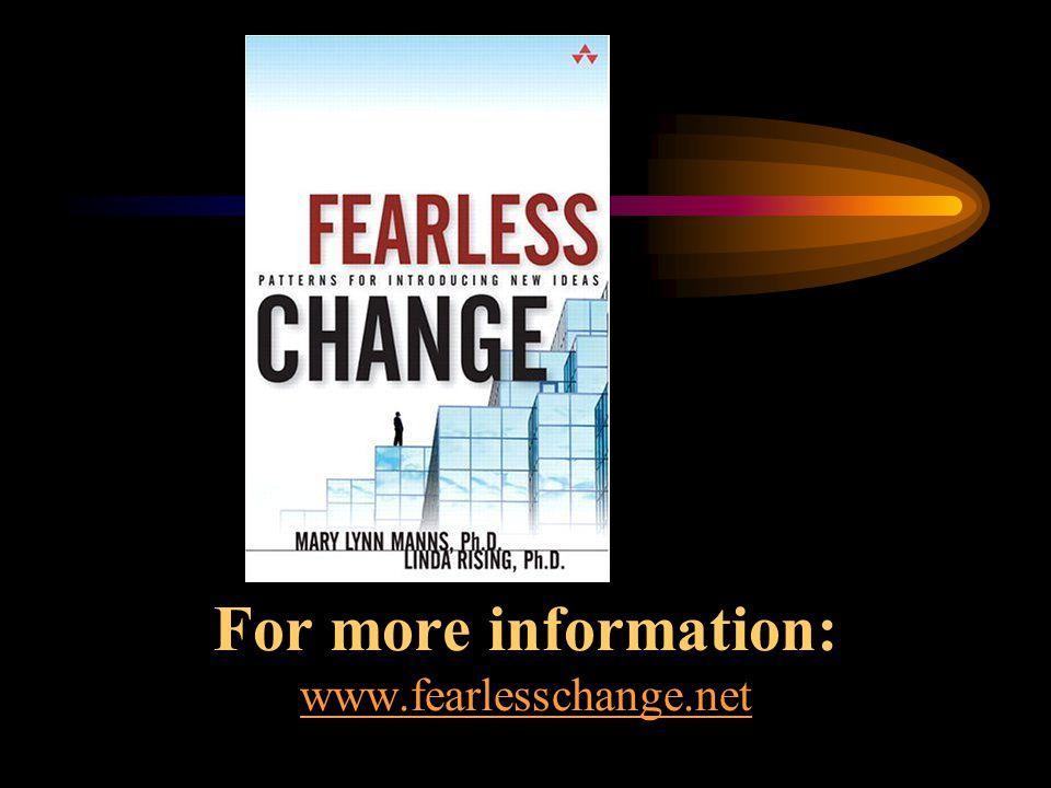 For more information: www.fearlesschange.net