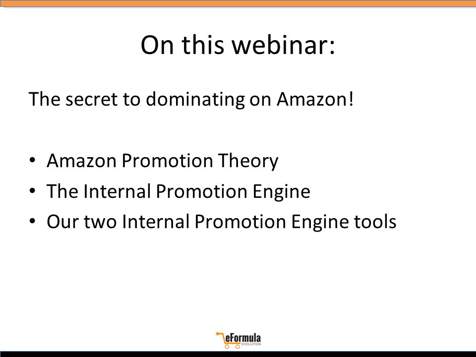 On this webinar: The secret to dominating on Amazon.