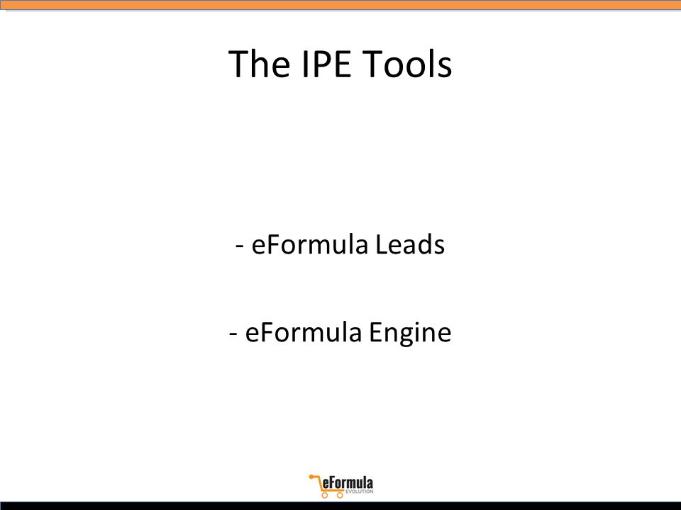 The IPE Tools - eFormula Leads - eFormula Engine