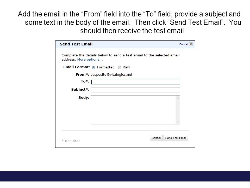 Add the email in the From field into the To field, provide a subject and some text in the body of the email.
