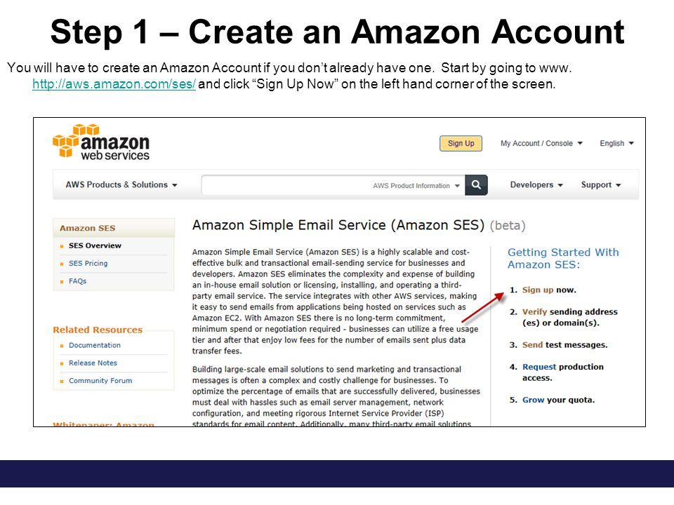 Step 1 – Create an Amazon Account You will have to create an Amazon Account if you don't already have one.