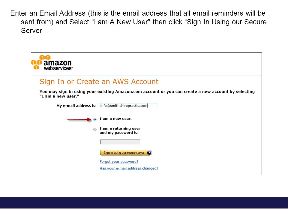 Enter an Email Address (this is the email address that all email reminders will be sent from) and Select I am A New User then click Sign In Using our Secure Server