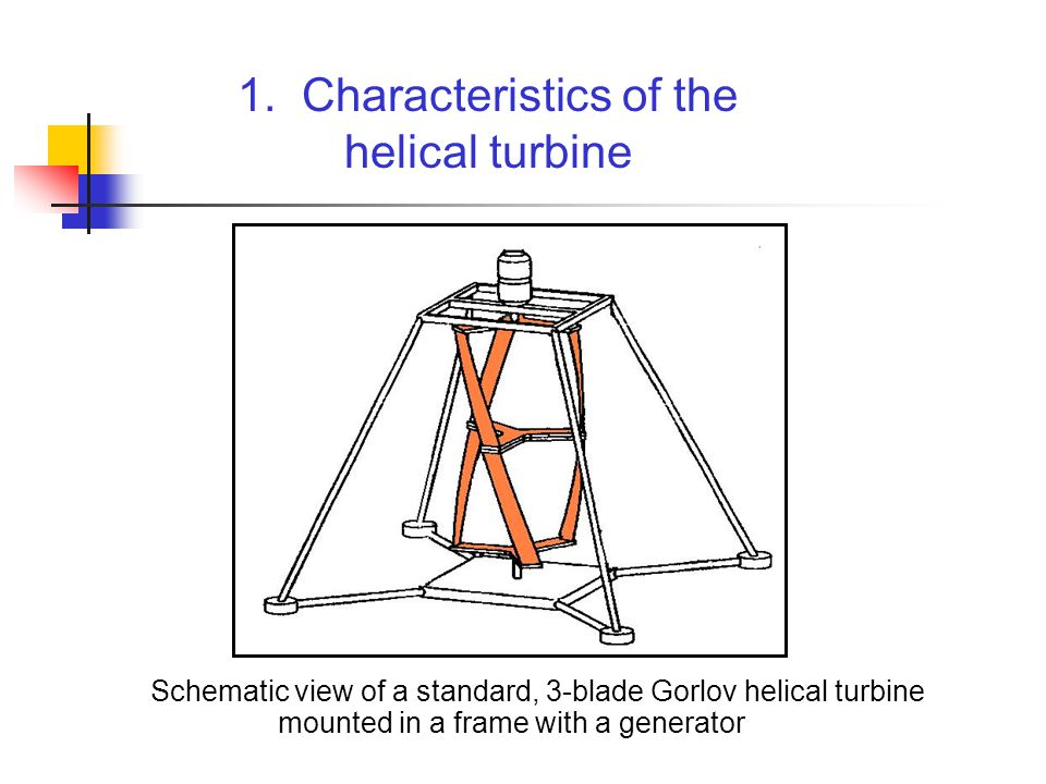 Operation: designed for hydroelectric applications in free-flowing water operates in river, tidal, and ocean currents does not require expensive dams that can also harm the environment may need protection from debris in the water the faster the current, the more energy that can be captured The helical turbine