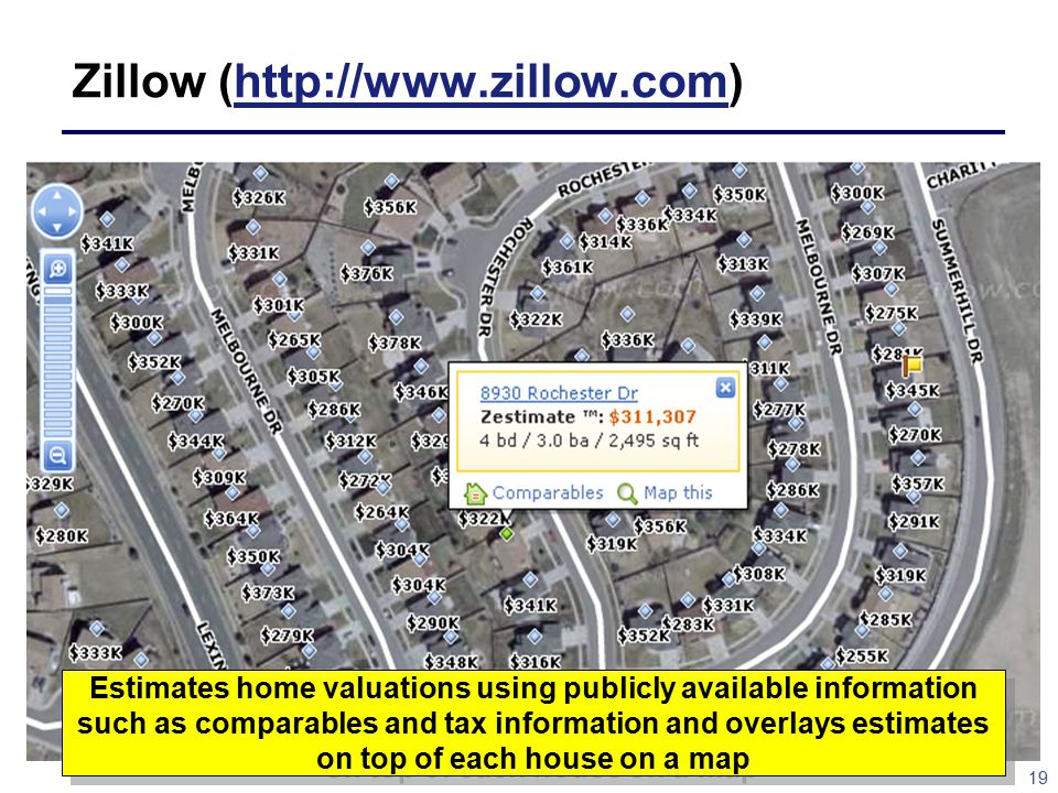 19 Zillow (http://www.zillow.com)http://www.zillow.com Estimates home valuations using publicly available information such as comparables and tax information and overlays estimates on top of each house on a map