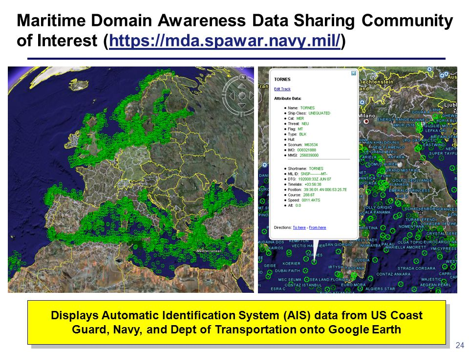24 Maritime Domain Awareness Data Sharing Community of Interest (https://mda.spawar.navy.mil/)https://mda.spawar.navy.mil/ Displays Automatic Identification System (AIS) data from US Coast Guard, Navy, and Dept of Transportation onto Google Earth