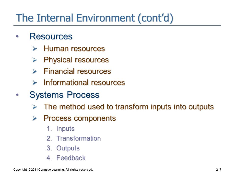 Copyright © 2011 Cengage Learning. All rights reserved.2–8 Exhibit 2–2 ●The Systems Process