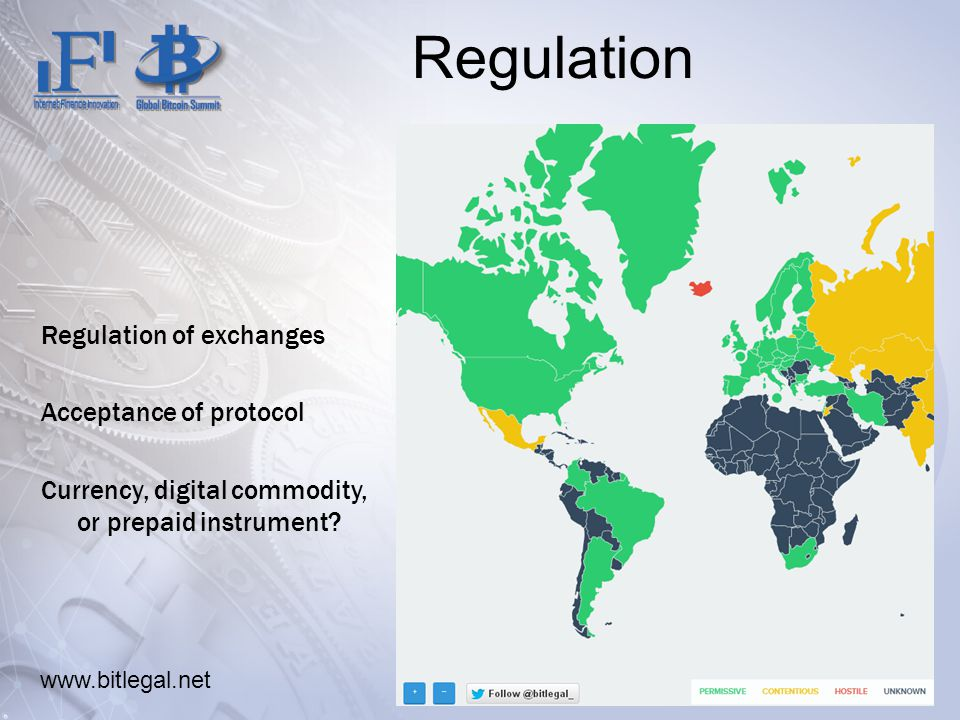 Regulation Regulation of exchanges Acceptance of protocol Currency, digital commodity, or prepaid instrument.