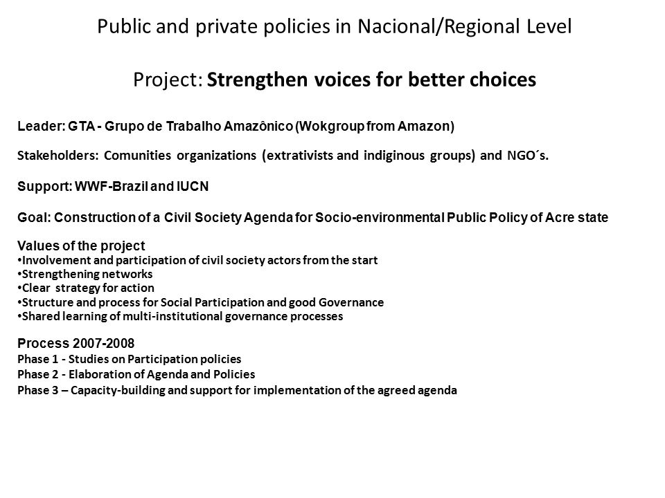 Public and private policies in Nacional/Regional Level Project: Strengthen voices for better choices Leader: GTA - Grupo de Trabalho Amazônico (Wokgro