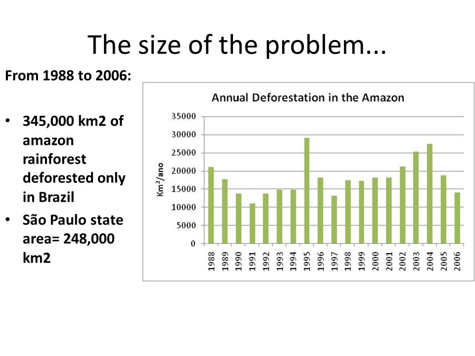 The size of the problem... From 1988 to 2006: 345,000 km2 of amazon rainforest deforested only in Brazil São Paulo state area= 248,000 km2