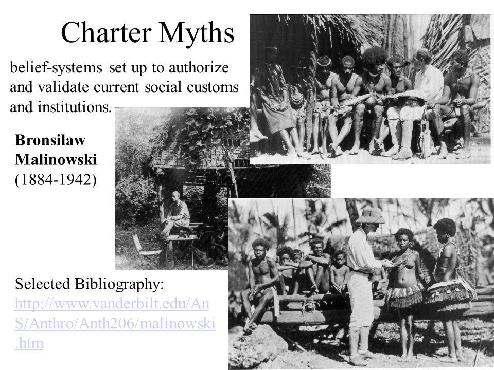 Charter Myths Bronsilaw Malinowski (1884-1942) Selected Bibliography: http://www.vanderbilt.edu/An S/Anthro/Anth206/malinowski.htm belief-systems set
