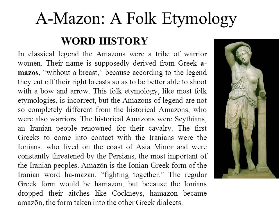 A-Mazon: A Folk Etymology WORD HISTORY In classical legend the Amazons were a tribe of warrior women.