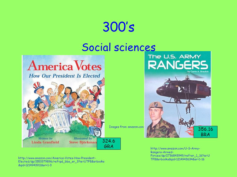 300's Social sciences http://www.amazon.com/U-S-Army- Rangers-Armed- Forces/dp/0736843949/ref=sr_1_16 ie=U TF8&s=books&qid=1214943634&sr=1-16 Images from amazon.com http://www.amazon.com/America-Votes-How-President- Elected/dp/1553379896/ref=pd_bbs_sr_3 ie=UTF8&s=books &qid=1214943911&sr=1-3 356.16 BRA 324.6 GRA