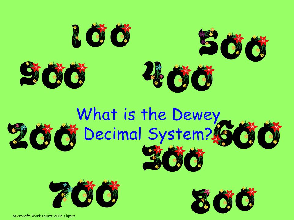 What is the Dewey Decimal System Microsoft Works Suite 2006 Clipart